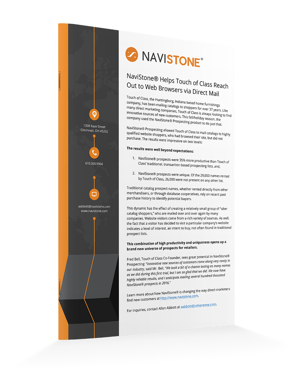 NaviStone® Helps Touch of Class Reach Out to Web Browsers via Direct Mail
